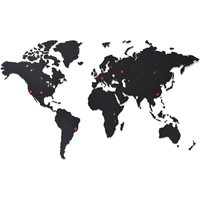 MiMi Innovations Luxury Wooden World Map - Wall Decoration - 90x54 cm/35.4x21.4 inch - Black