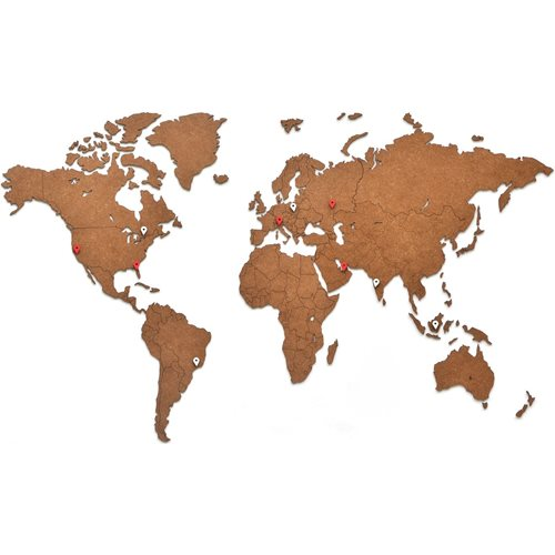 MiMi Innovations Luxury Wooden World Map - Wall Decoration - 90x54 cm/35.4x21.4 inch - Brown