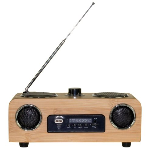 United Entertainment 3G Portable Stereo Speaker - FM Radio AUX/USB/SD - Bamboo