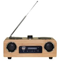 United Entertainment 3G Portabler Stereo Lautsprecher - FM Radio AUX/USB/SD - Bambus
