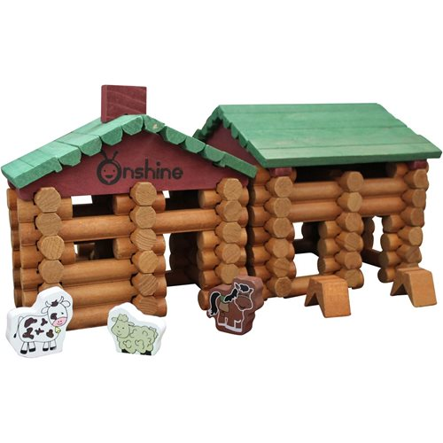 United Entertainment Wooden Building Blocks - Forest Log Cabin - 170 pcs