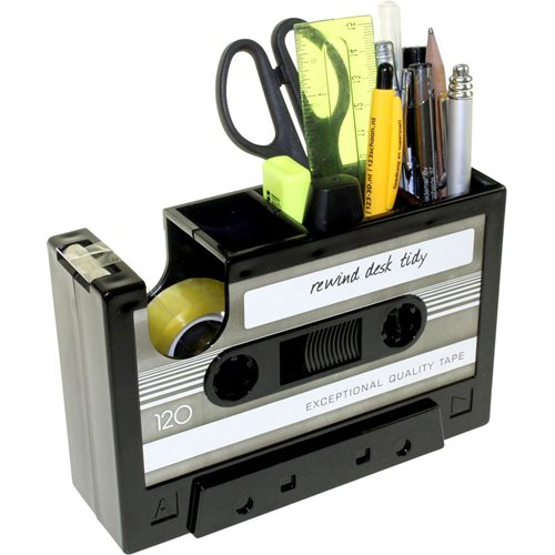 United Entertainment Retro Casette Tape Dispenser and Desk Storage - Black