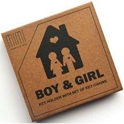 MiMi Innovations Holzset Schlüsselbrett mit Schlüsselanhänger - Junge & Mädchen