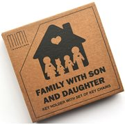 MiMi Innovations Wooden Key Holder with Set of Key Chains - Family with Son & Daughter