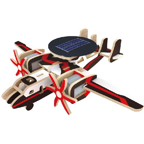 Robotime Airborne Plane with Warning System P340S Solar - Wooden Model Kit - Paper Coating