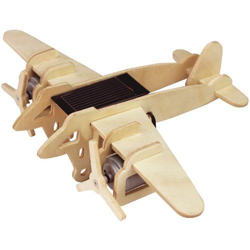 Robotime Bomber Vliegtuig P330 met zonnecel- Houten modelbouw