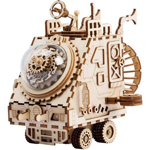 Robotime Space Vehicle AM681 - Wooden Model Kit - Music Box - Steampunk - DIY