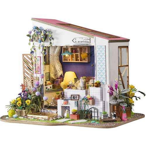 Robotime Lily's Porch DG11 - Wooden Model Kit - Dollhouse with LED Light - DIY