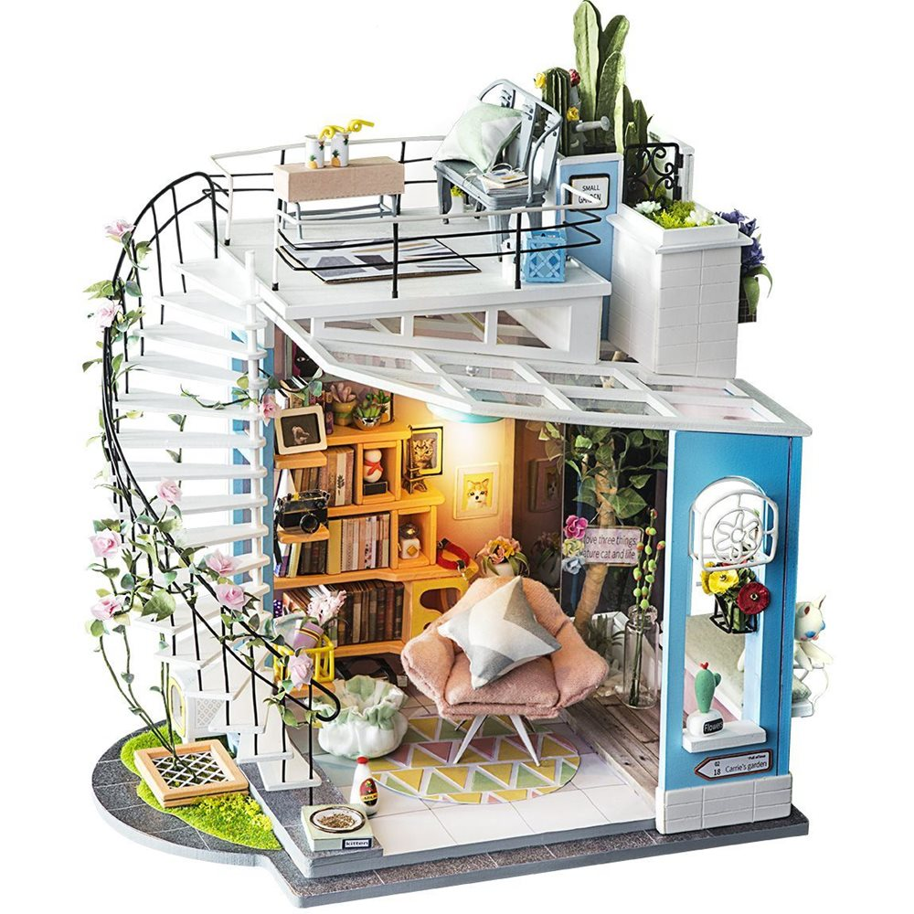 Robotime Dora's Loft DG12 - Wooden Model Kit - Dollhouse with LED Light - DIY