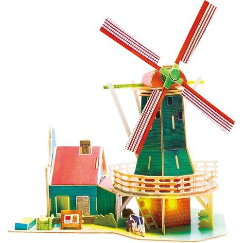 Robotime Niederländische Windmühle SJ305 - Holzmodellbau - Miniaturhaus mit LED-Licht - DIY