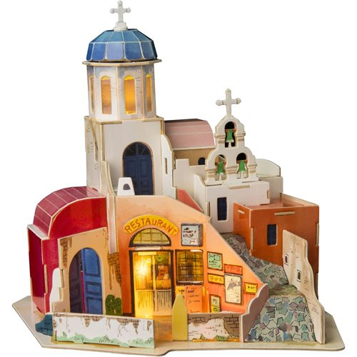 Robotime Aegean Sea SJ403 - Wooden Model Kit - Miniature House with LED Light - DIY