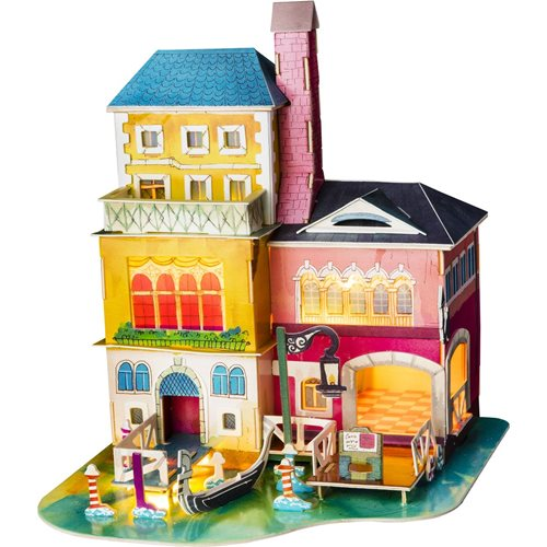 Robotime Midsummer in Venice SJ 406 - Wooden Model Kit - Miniature House with LED Light - DIY