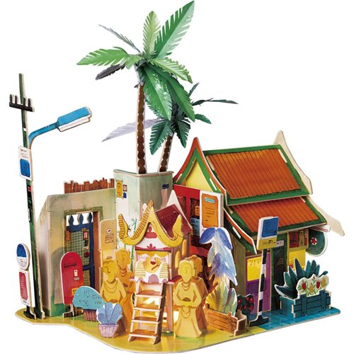 Robotime Sunny Chiang Mai SJ407 - Wooden Model Kit - Miniature House with LED Light - DIY