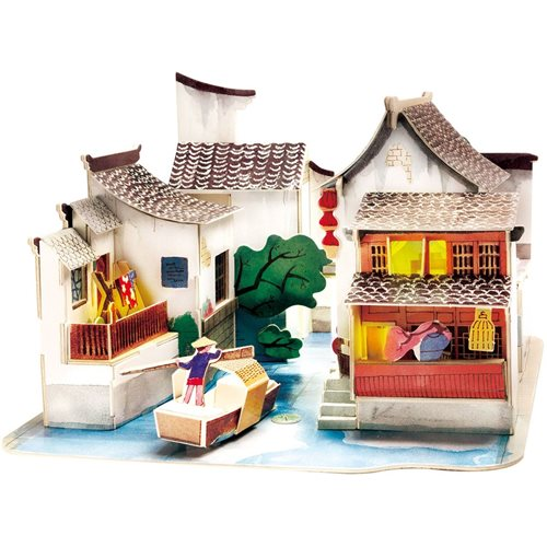 Robotime South of China SJ508 - Wooden Model Kit - Miniature House with LED Light - DIY