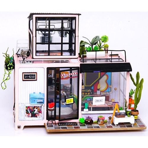 Robotime Kevin's Studio DG13 - Wooden Model Kit - Dollhouse with LED Light - DIY