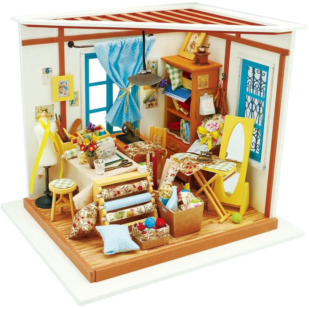 Robotime Lisa's Tailor DG101 - Wooden Model Kit - Dollhouse with LED Light - DIY