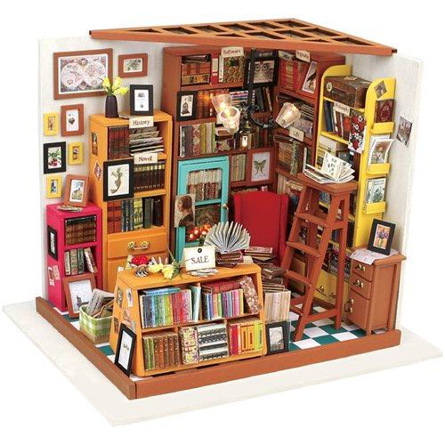 Robotime Sams Bibliothek DG102 - Holzmodellbau - Puppenhaus mit LED-Licht - DIY
