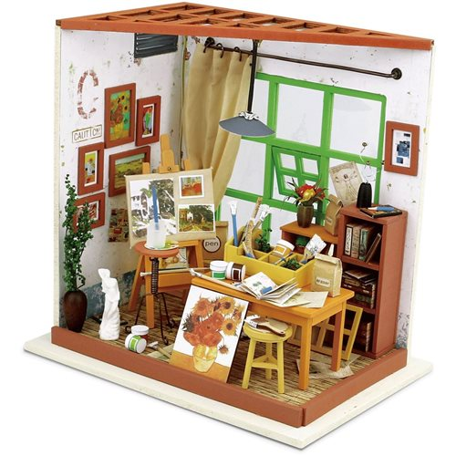 Robotime Ada's Studio DG103 - Wooden Model Kit - Dollhouse with LED Light - DIY
