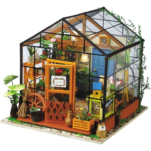 Robotime Cathy's Flower House DG104 - Wooden Model Kit - Dollhouse with LED Light - DIY