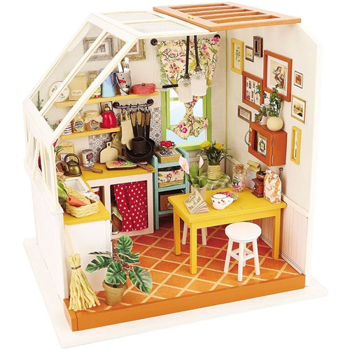 Robotime Jason's Kitchen DG105 - Wooden Model Kit - Dollhouse with LED Light - DIY