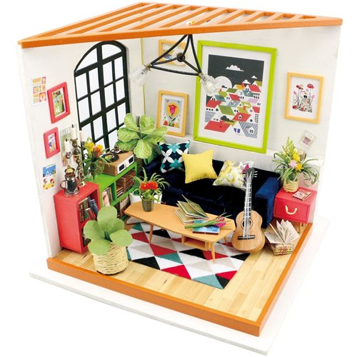 Robotime Locus's Living Room DG106 - Wooden Model Kit - Dollhouse with LED Light - DIY