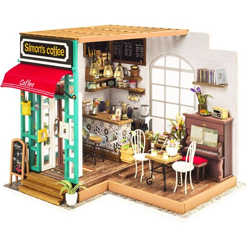 Robotime Simon's Coffee DG109 - Wooden Model Kit - Dollhouse with LED Light - DIY