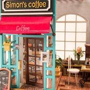 Robotime Simon's Coffee DG109 - Wooden Model Kit - Dollhouse with LED Light - DIY
