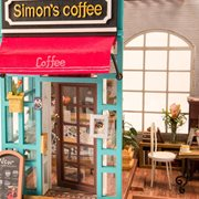 Robotime Simons Koffie DG109 - Houten modelbouw - Poppenhuis met LED licht - DIY