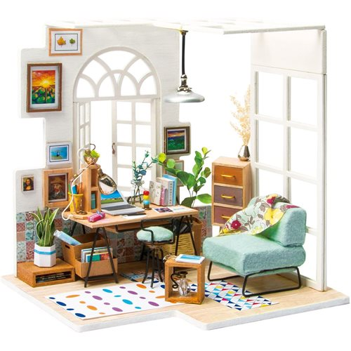 Robotime SOHO Time DGM01 - Wooden Model Kit - Mini Dollhouse with LED Light - DIY