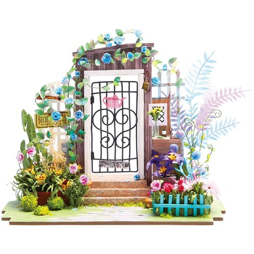Robotime Garden Entrance DGM02 - Wooden Model Kit - Mini Dollhouse with LED Light - DIY