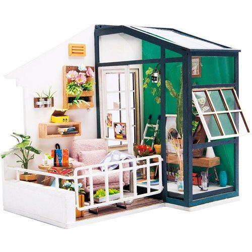 Robotime Balkon zum Träumen DGM05 - Holzmodellbau - Mini Puppenhaus mit LED-Licht - DIY