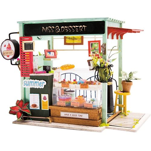 Robotime Ice Cream Station DGM06 - Wooden Model Kit - Mini Dollhouse with LED Light - DIY