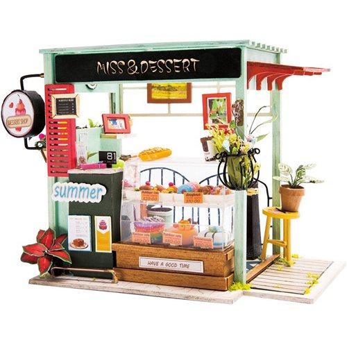 Robotime Ijs Kraam DGM06 - Houten modelbouw - Mini Poppenhuis met LED licht - DIY