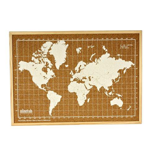 Milimetrado - Wereldkaart Prikbord - Kurk met Houten Frame - Naturel/Wit - 70x50 cm