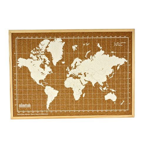 Milimetrado - World Map Corkboard - with Wooden Frame - Natural/White - 70x50 cm