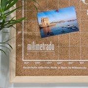 Milimetrado - World Map Corkboard - with Wooden Frame - Natural/White - 70x50 cm