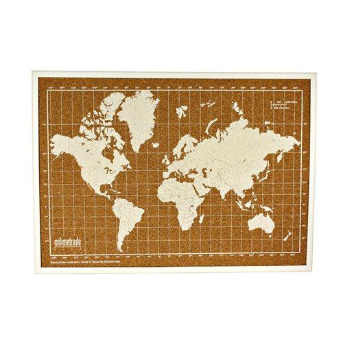 Milimetrado - Weltkarte Pinnwand - mit Holzrahmen - Weiß/Weiß - 70x50 cm