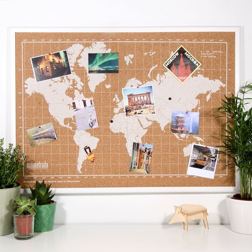 Milimetrado - World Map Corkboard - with Wooden Frame - White/White - 70x50 cm