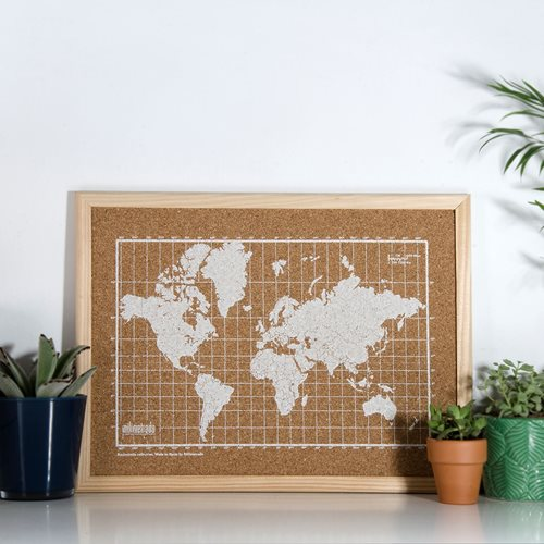 Milimetrado - World Map Corkboard - with Wooden Frame - Natural/White - 40x30 cm