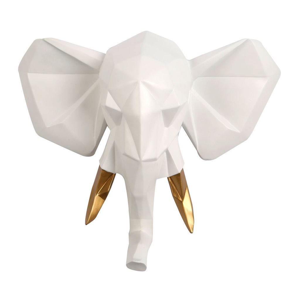 Walplus Elephant - Wall Decoration - Geometric - White/Gold