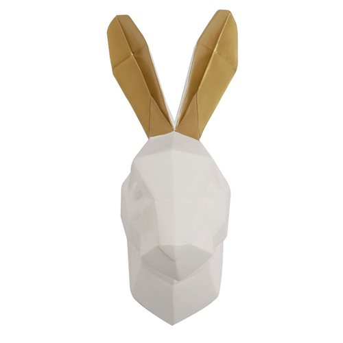 Walplus Rabbit - Wall Decoration - Geometric - White/Gold