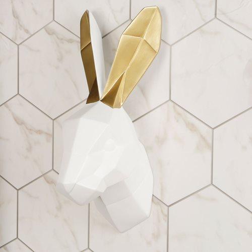 Walplus Rabbit - Wall Decoration - Geometric - White/Gold