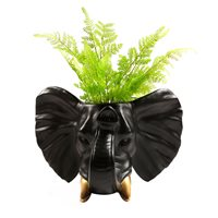 Walplus Elephant Flowerpot - Wall Decoration - Black/Gold