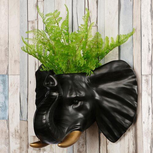 Walplus Elephant Flowerpot - Wall Decoration - Black/Gold