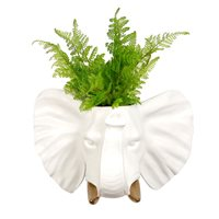 Walplus Elephant Flowerpot - Wall Decoration - White/Gold