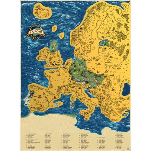 Giftio - Scratch off World Map Europe - Gold - 90x66 cm