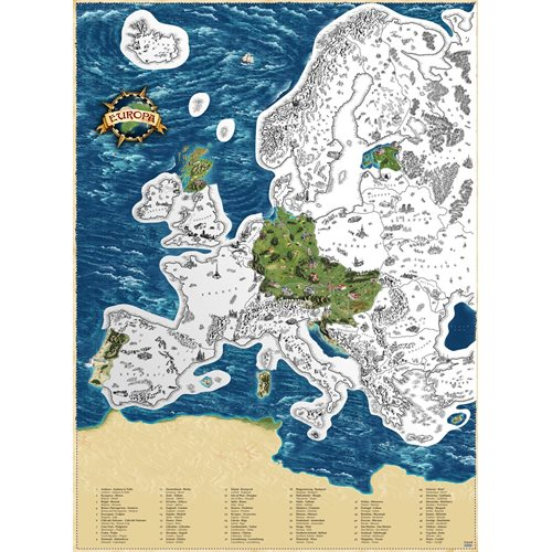 Giftio - Scratch off World Map Europe - Platinum - 90x66 cm