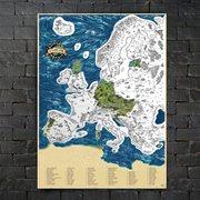 Giftio - Rubbelkarte Europa - Platin - 90x66 cm
