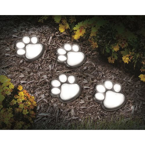 IdeaWorks Solar Paw Print Lights - Set of 4