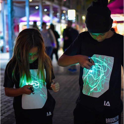 IA Interaktives Glow T-Shirt für Kinder - Super Grün - Schwarz - 5-6 Jahre